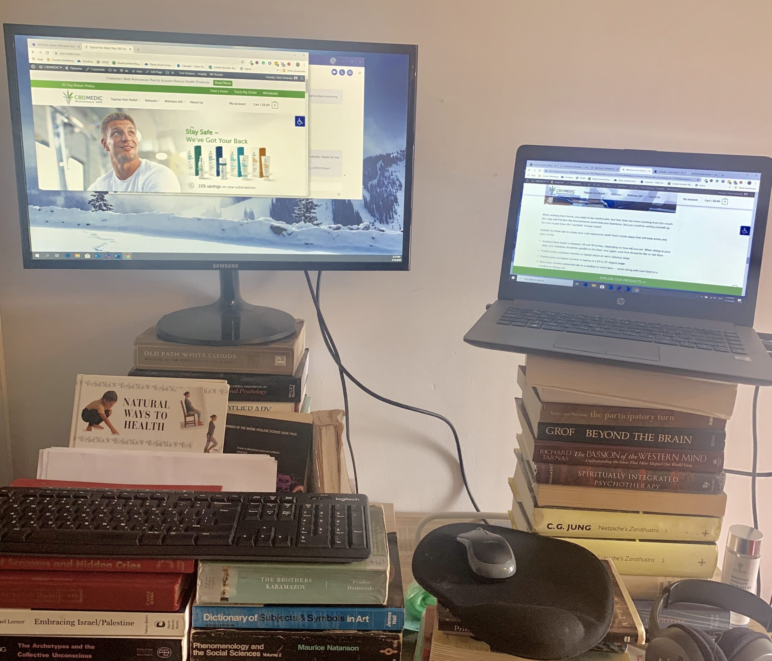 standing desk with books