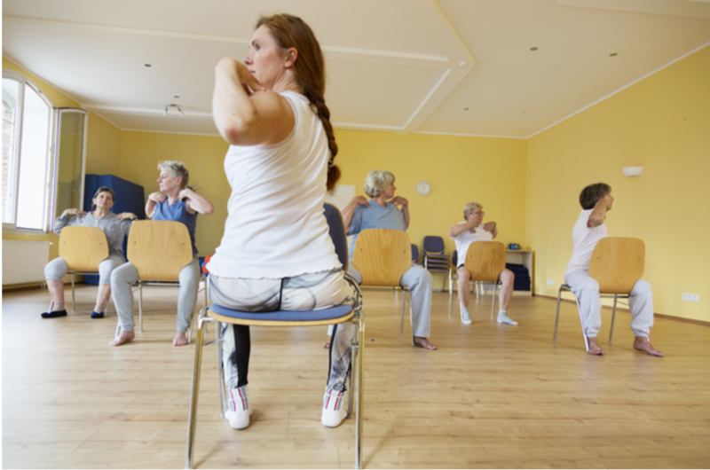 women doing chair exercises