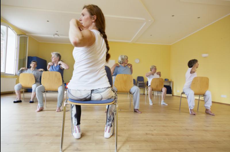 women doing chair exercises